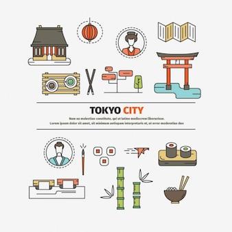Ciudad de Tokio elementos de diseño plano