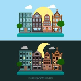 Ciudad en diferentes momentos del día