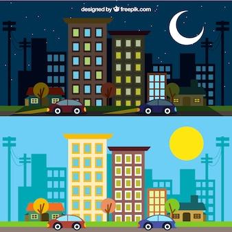 Ciudad en diferentes momentos del dñia