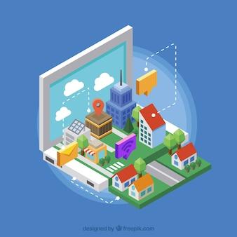 Ciudad inteligente con bonitas casas en estilo isométrico