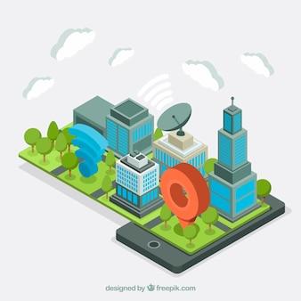 Ciudad isométrica de negocios
