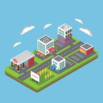 ciudad isométrica plana