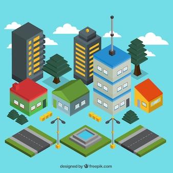 Ciudad moderna isométrica con carreteras