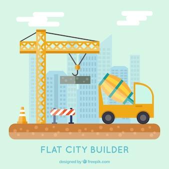 Ciudad plana en construcción
