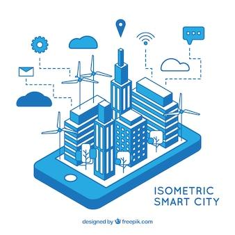 Ciudad tecnológica isométrica azul
