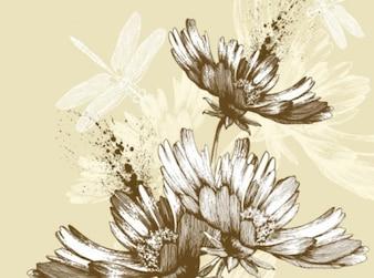 Clásico de la mano arte de la pintura de flores de fondo
