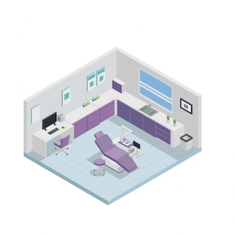 Clínica Dental Isométrica Diseño de Interiores