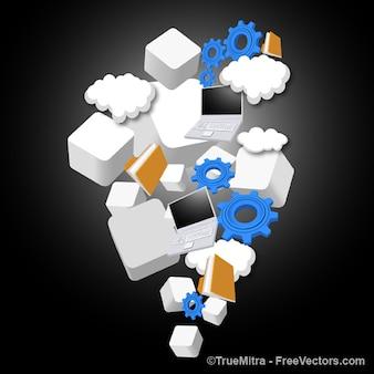 Cloud hosting proceso de iconos Conjunto de fondos de vector
