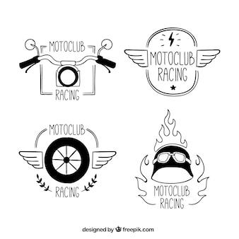 Club de motocicletas, logotipos dibujados a mano