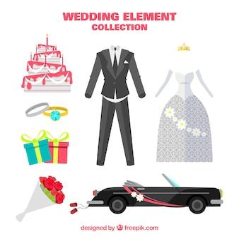 Coche de boda con otros elementos en diseño plano