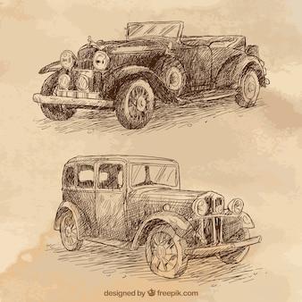 Coches estilosos vintage dibujados a mano