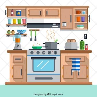 Cocina en estilo plano