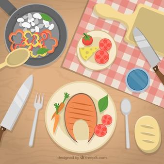 Cocinando un almuerzo delicioso