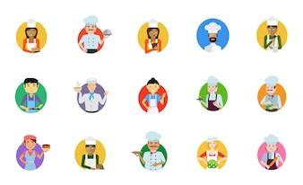 Cocinar icono de la gente conjunto