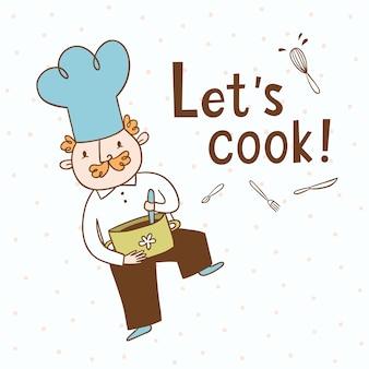 Cocinemos. Ilustración vectorial de un cocinero
