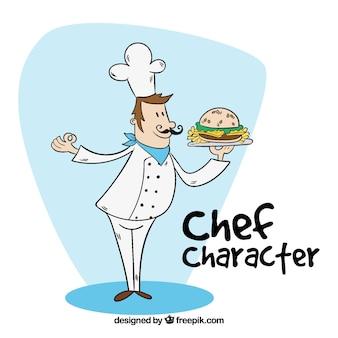Cocinero dibujado a mano sujetando una hamburguesa sabrosa