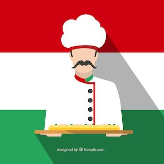Cocinero italiano con una pizza