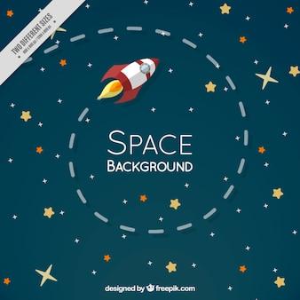 cohete plana en el espacio con estrellas de fondo