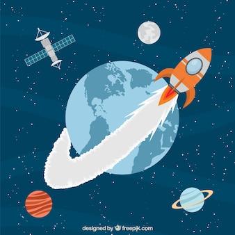 Cohete viajando alrededor de la tierra