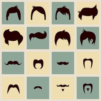 Colección de bigotes y peinados