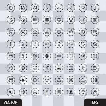 Colección de botones multimedia