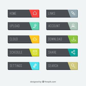 Colección de botones web rectangulares