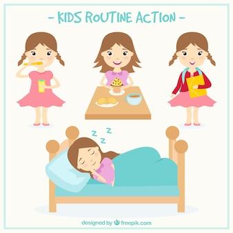 Colección de chica haciendo tareas diarias