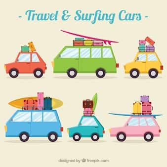 Colección de coches de viaje y surf