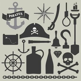 Colección de elementos del pirata