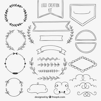 Colección de elementos ornamentales dibujados a mano