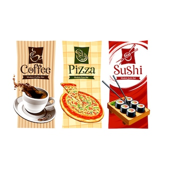 Colección de etiquetas de comida