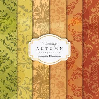 Colección de fondos de otoño vintage
