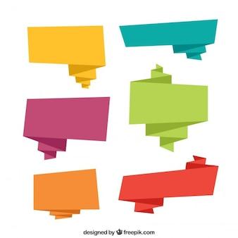 Colección de globos de diálogo de colores de origami