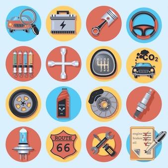 Colección de iconos de reparación de coche