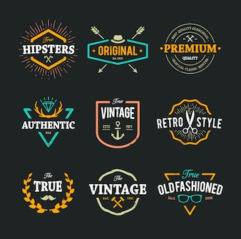 Colección de logos hipster a color