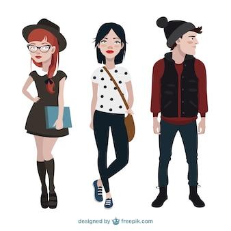 Colección de personajes adolescentes modernos