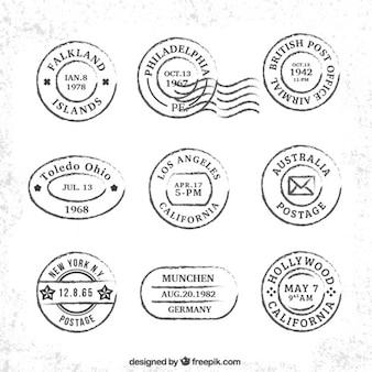 Colección de sellos vintage de viaje