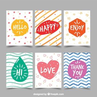 Colección de tarjetas de felicitación abstractas coloridas pintadas a mano