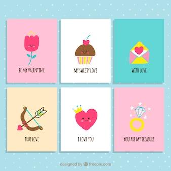 Colección de tarjetas de san valentín bonitas