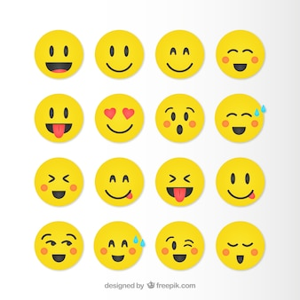 Colección  de emoticonos divertidos en color amarillo