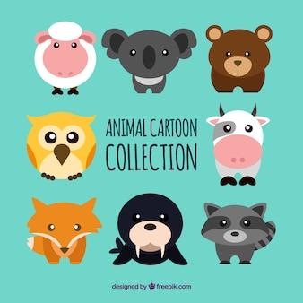 Colección adorable de animales con estilo de dibujo animado