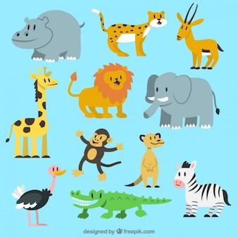 Colección adorable de animales salvajes
