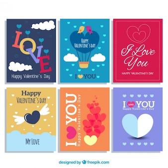 Colección adorable de tarjetas del día de San Valentín