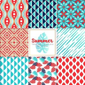 Colección azul de patrones de verano