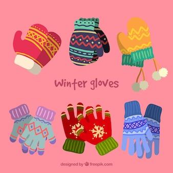 Colección bonita de guantes de invierno