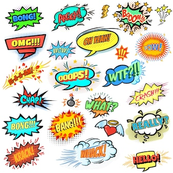 Colección colorida de burbujas de texto de cómic