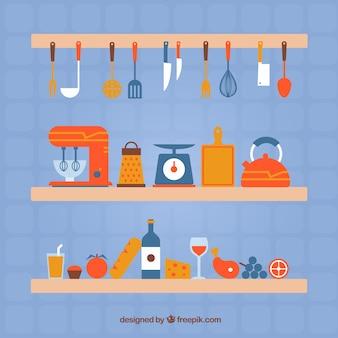 Colección colorida de elementos de cocina