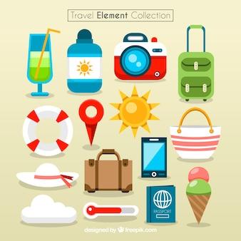 Colección colorida de elementos de viaje
