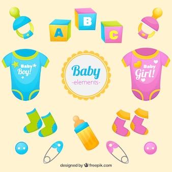 Colección colorida de objetos de bebé