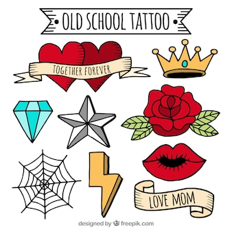 Colección colorida de tatuajes old school dibujados a mano